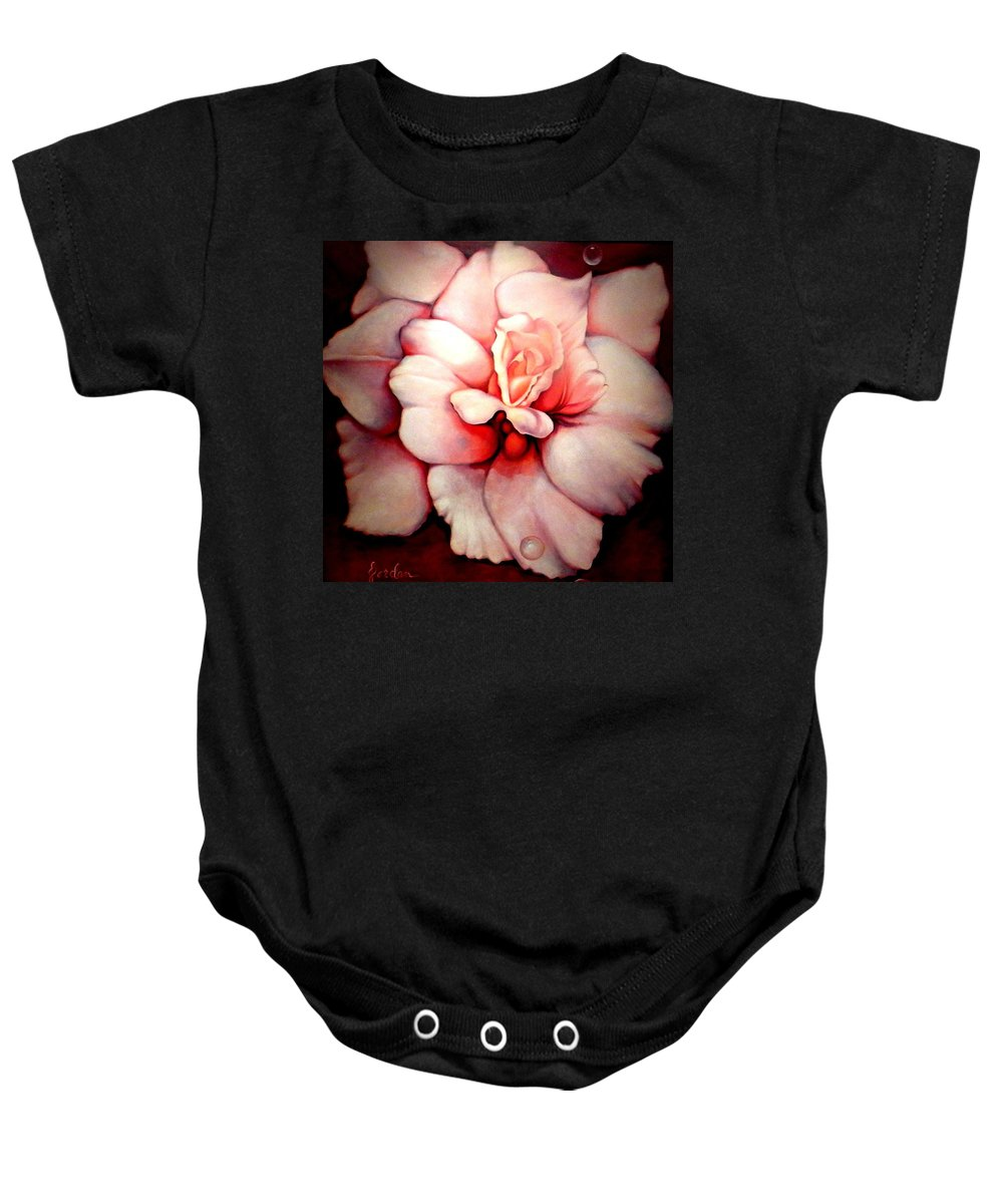 Blooms.large Rose Baby Onesie featuring the painting Sheer Bliss by Jordana Sands