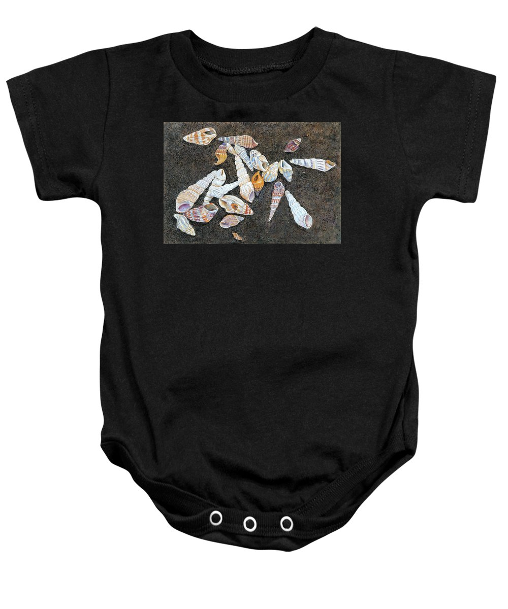 Birdseye Art Studio Baby Onesie featuring the painting Shells From The Sea Of Galilee by Nick Payne