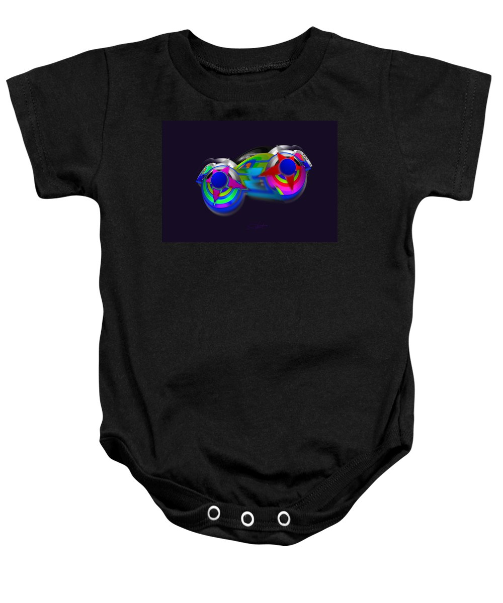 Spaceship Baby Onesie featuring the digital art Ship by Charles Stuart