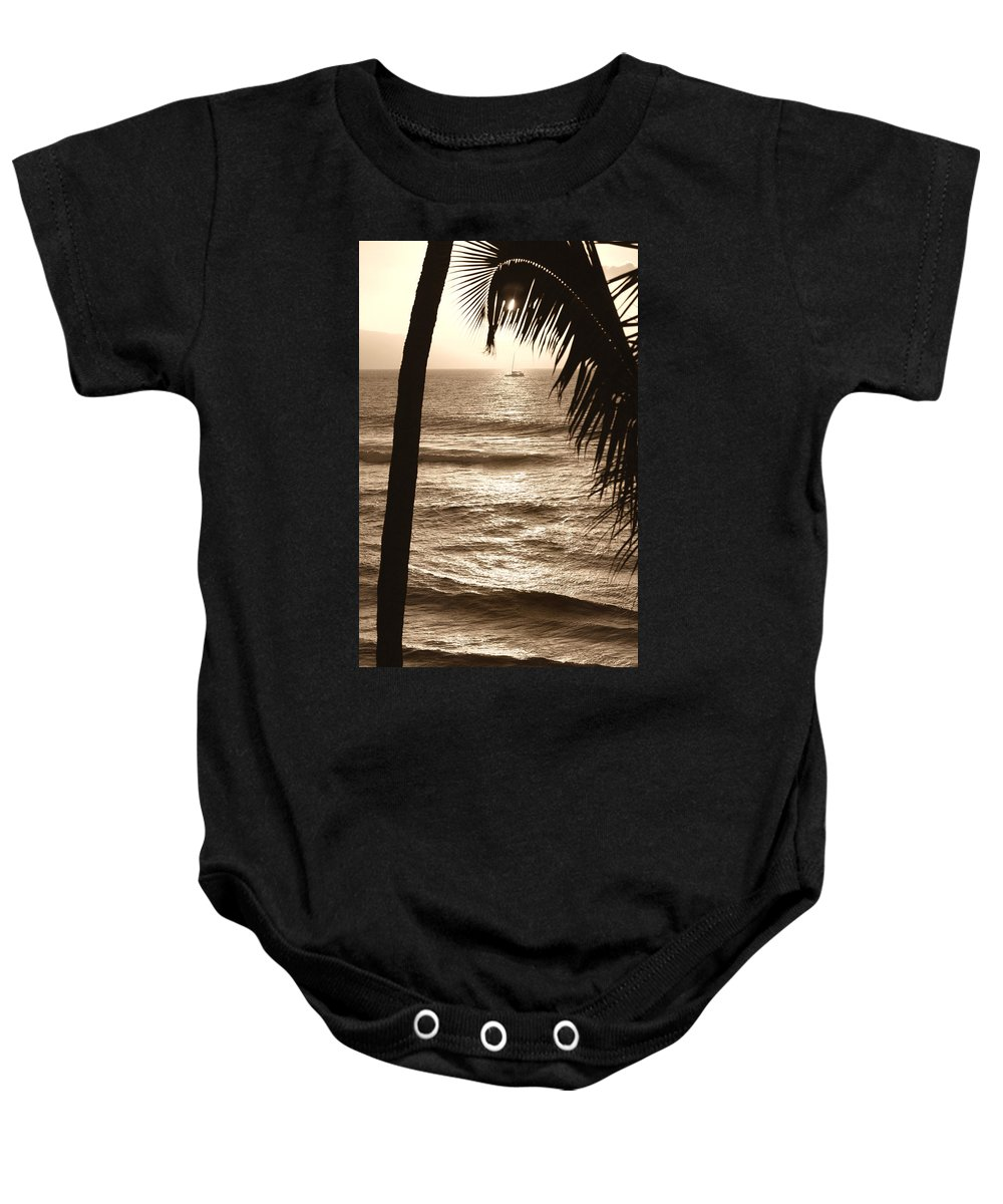 Hawaii Baby Onesie featuring the photograph Ship in Sunset by Marilyn Hunt
