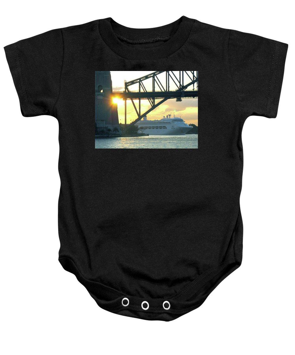 Sydney Baby Onesie featuring the photograph Ship Under Sydney Harbour Bridge by Suzanne Vreeland