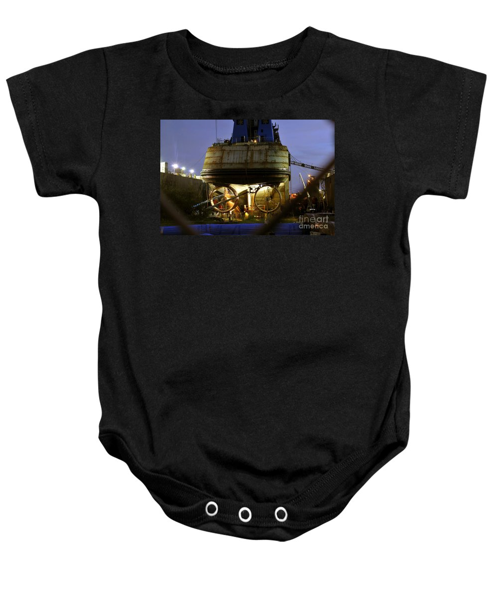 Shipyard Baby Onesie featuring the photograph Shipyard Work by David Lee Thompson