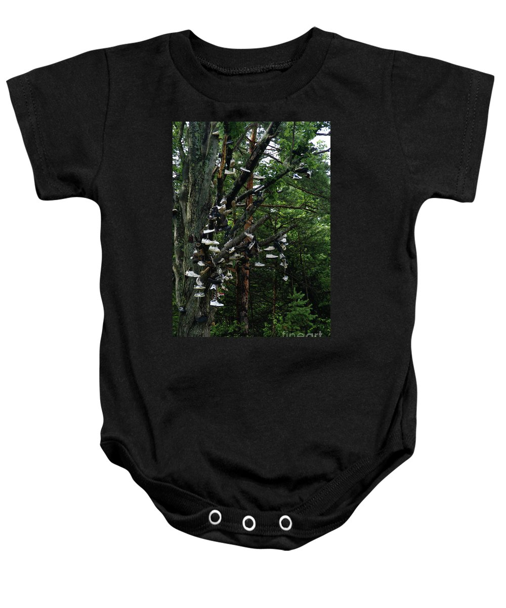 Amusement Baby Onesie featuring the photograph Shoe Tree by Linda Shafer