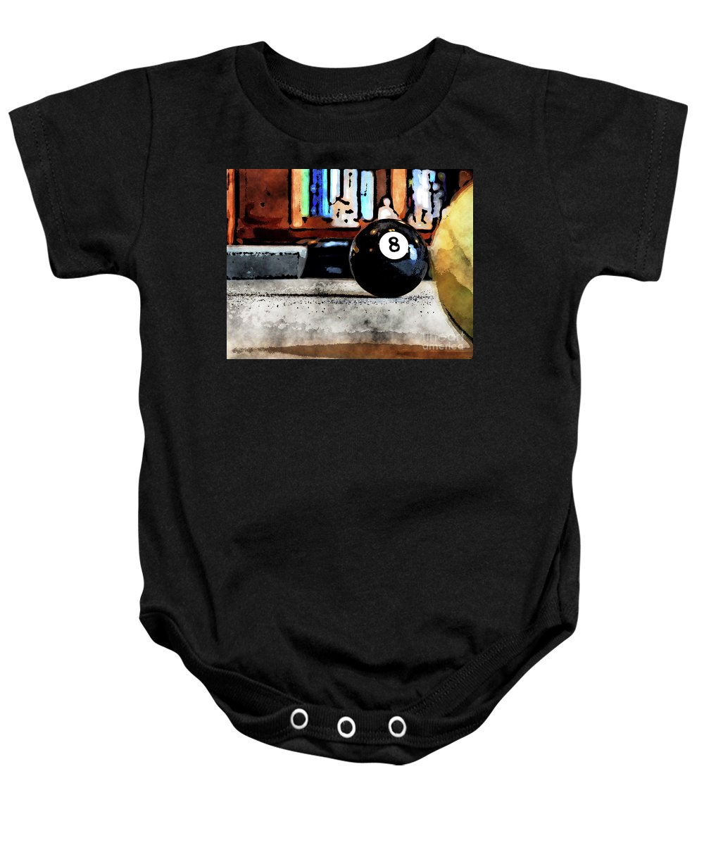Pool Baby Onesie featuring the digital art Shooting For The Eight Ball by Phil Perkins