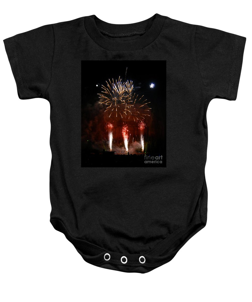 Photography.fireworks Baby Onesie featuring the photograph Shooting The Fireworks by David Lee Thompson
