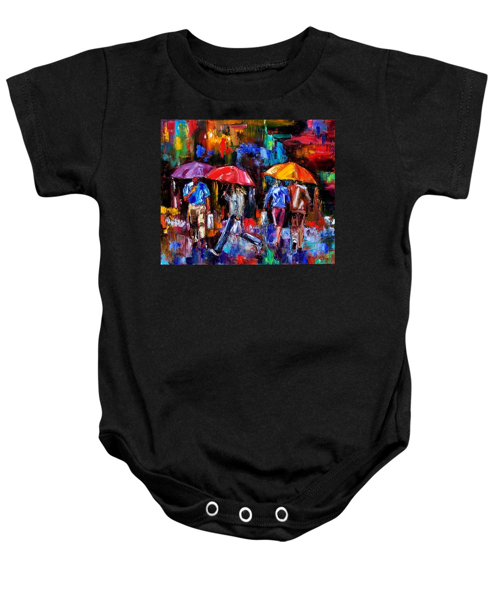 Umbrellas Baby Onesie featuring the painting Shopping Bags by Debra Hurd