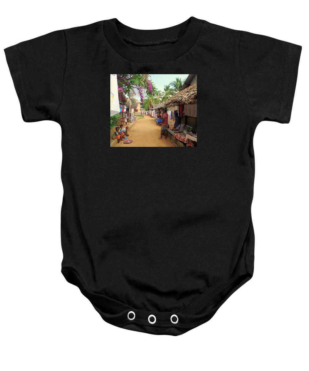 Nosy Be Baby Onesie featuring the photograph Shops In Madagascar by John Potts