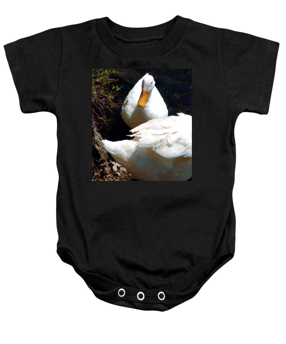Duck Baby Onesie featuring the painting Should I by RC DeWinter