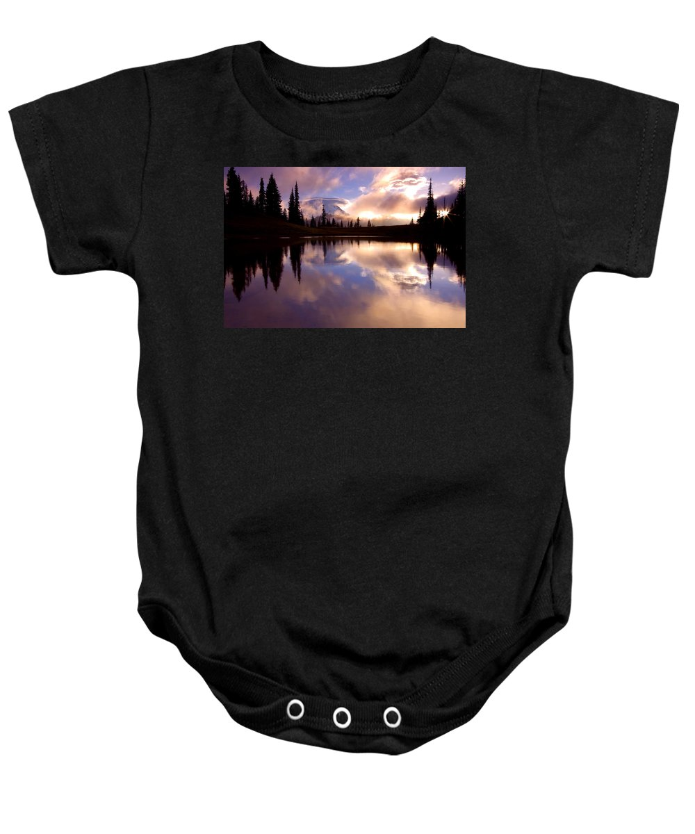 Rainier Baby Onesie featuring the photograph Shrouded In Clouds by Mike Dawson