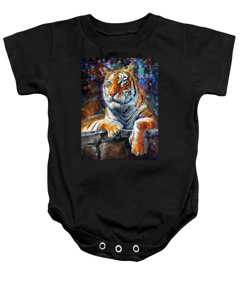 Afremov Baby Onesie featuring the painting Siberian Tiger by Leonid Afremov