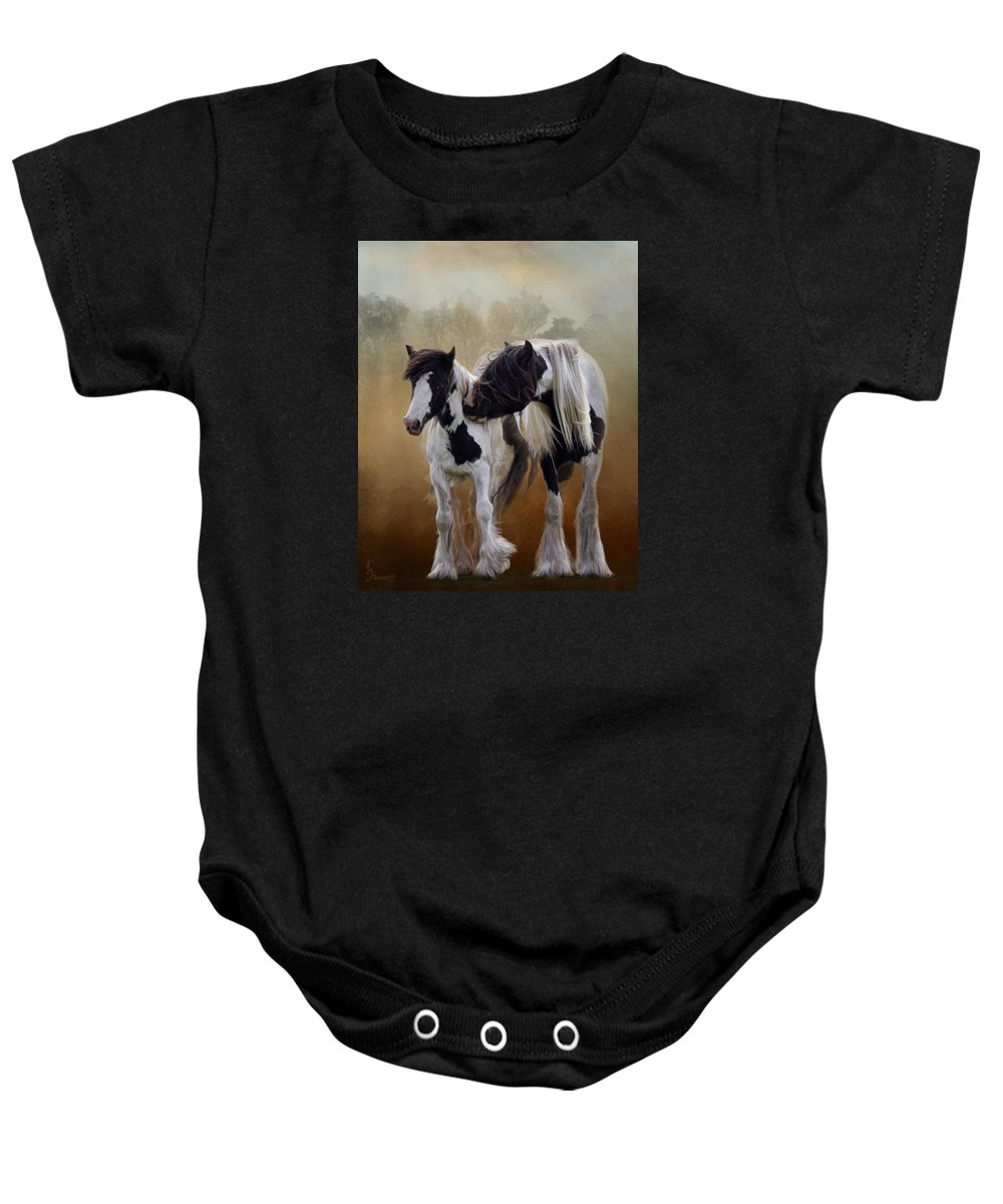 Gypsy Horse Baby Onesie featuring the digital art Sibling Rivalry by Kimberly Stevens