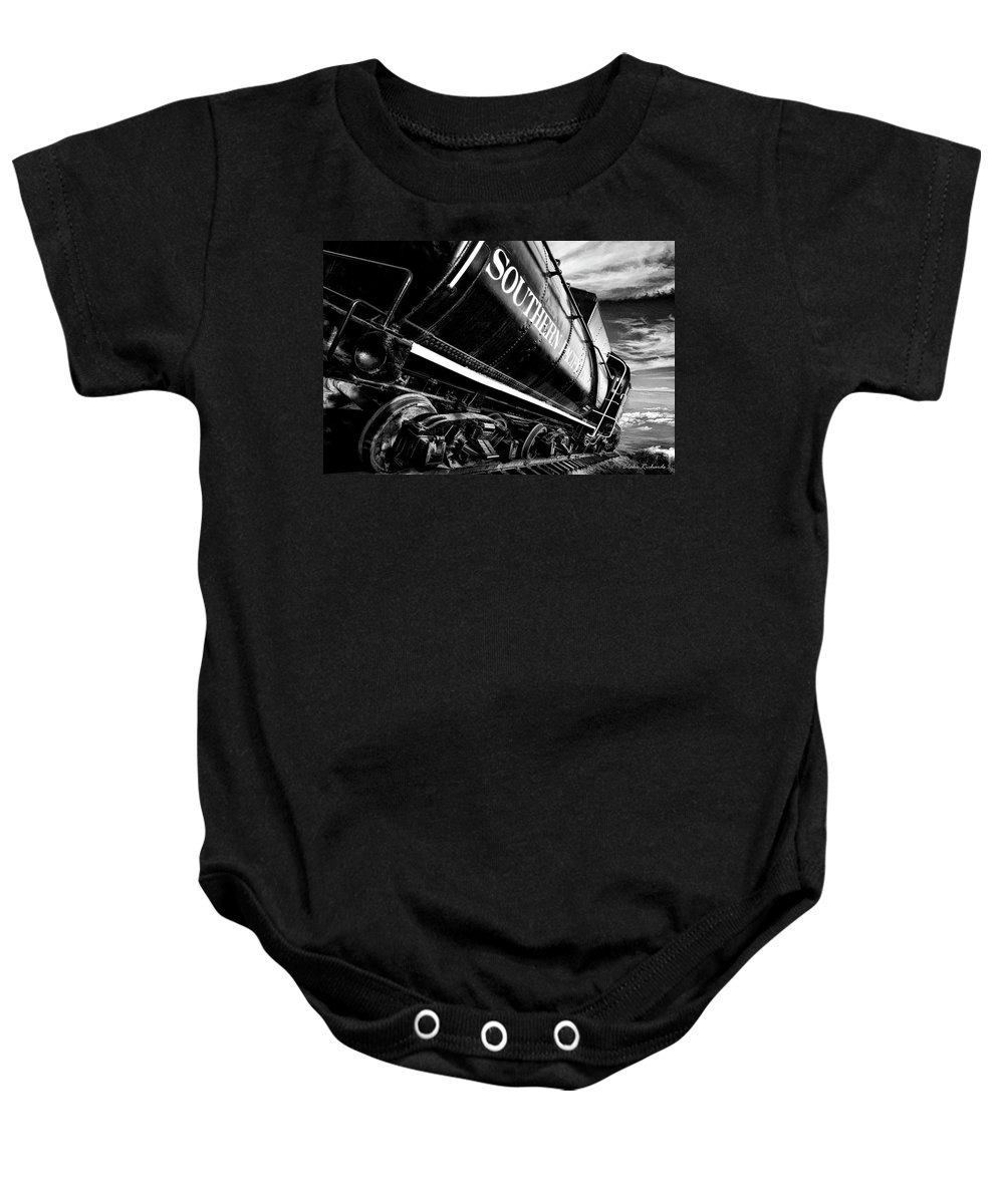 Art Photography Baby Onesie featuring the photograph Sideways Train by Blake Richards