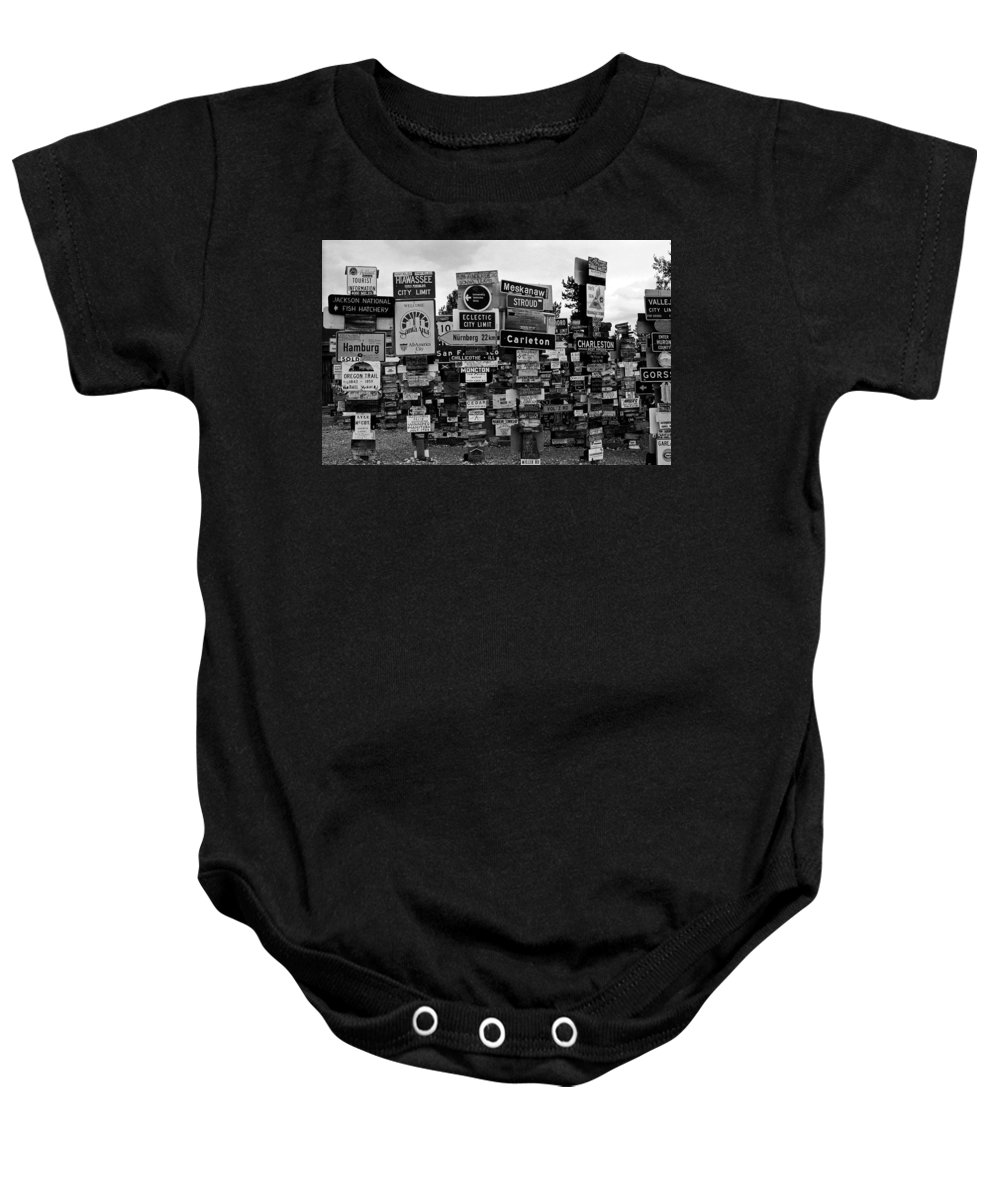 North America Baby Onesie featuring the photograph Sign Post Forest by Juergen Weiss