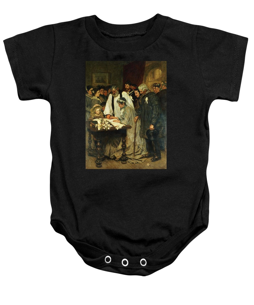 Signing Baby Onesie featuring the painting Signing The Marriage Register by James Charles