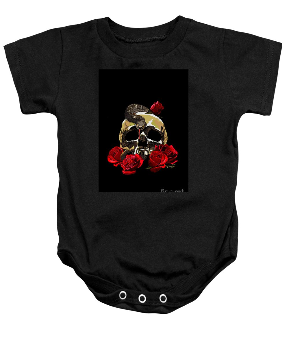 Skull Baby Onesie featuring the digital art Silence by Kevin Sweeney