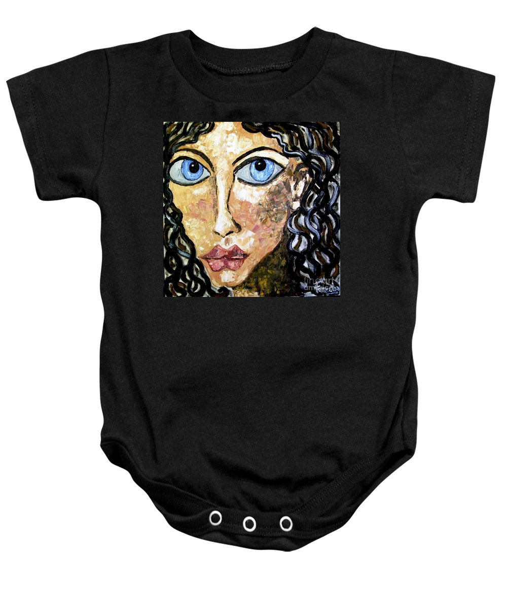 Fareeha Khawaja Baby Onesie featuring the painting Silent Blue by Fareeha Khawaja