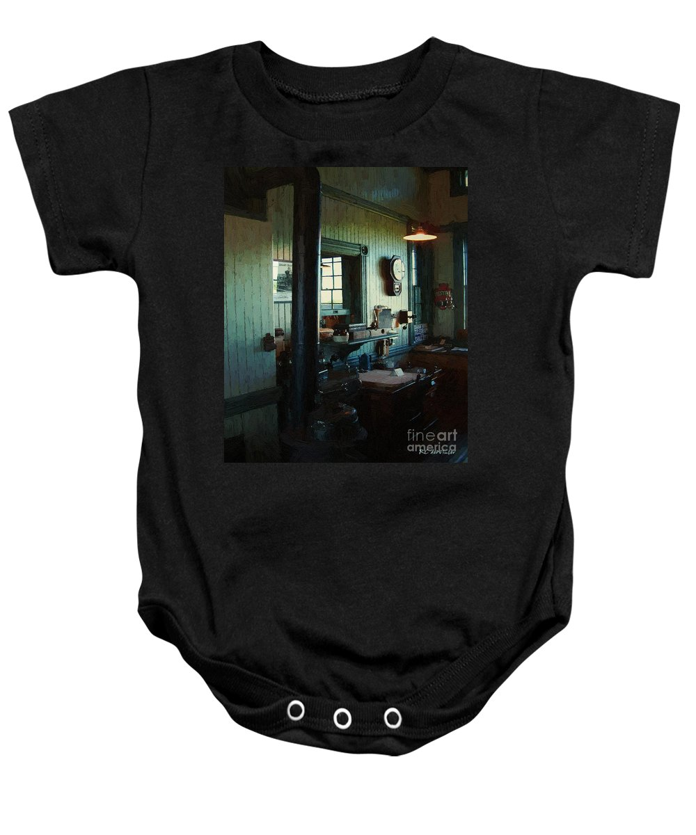 Antiques Baby Onesie featuring the painting Silent Station by RC DeWinter