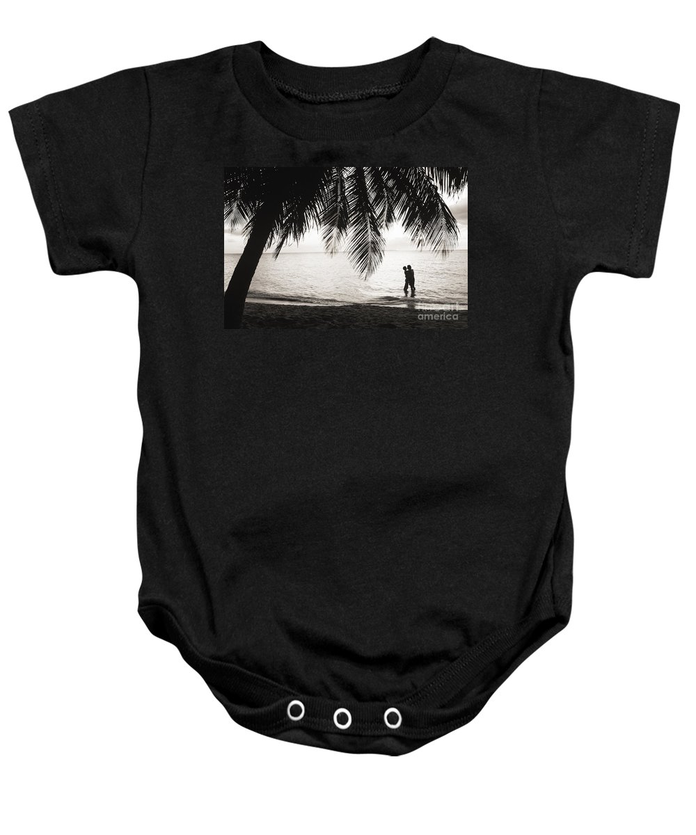 Bay Islands Baby Onesie featuring the photograph Silhouetted Couple by Larry Dale Gordon - Printscapes