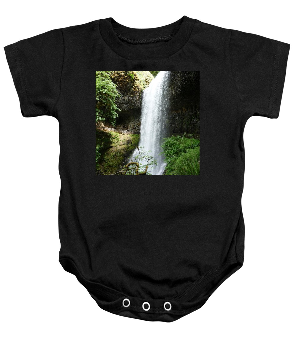 Columbia Gorge Baby Onesie featuring the photograph Silver Falls 2 by Ingrid Smith-Johnsen
