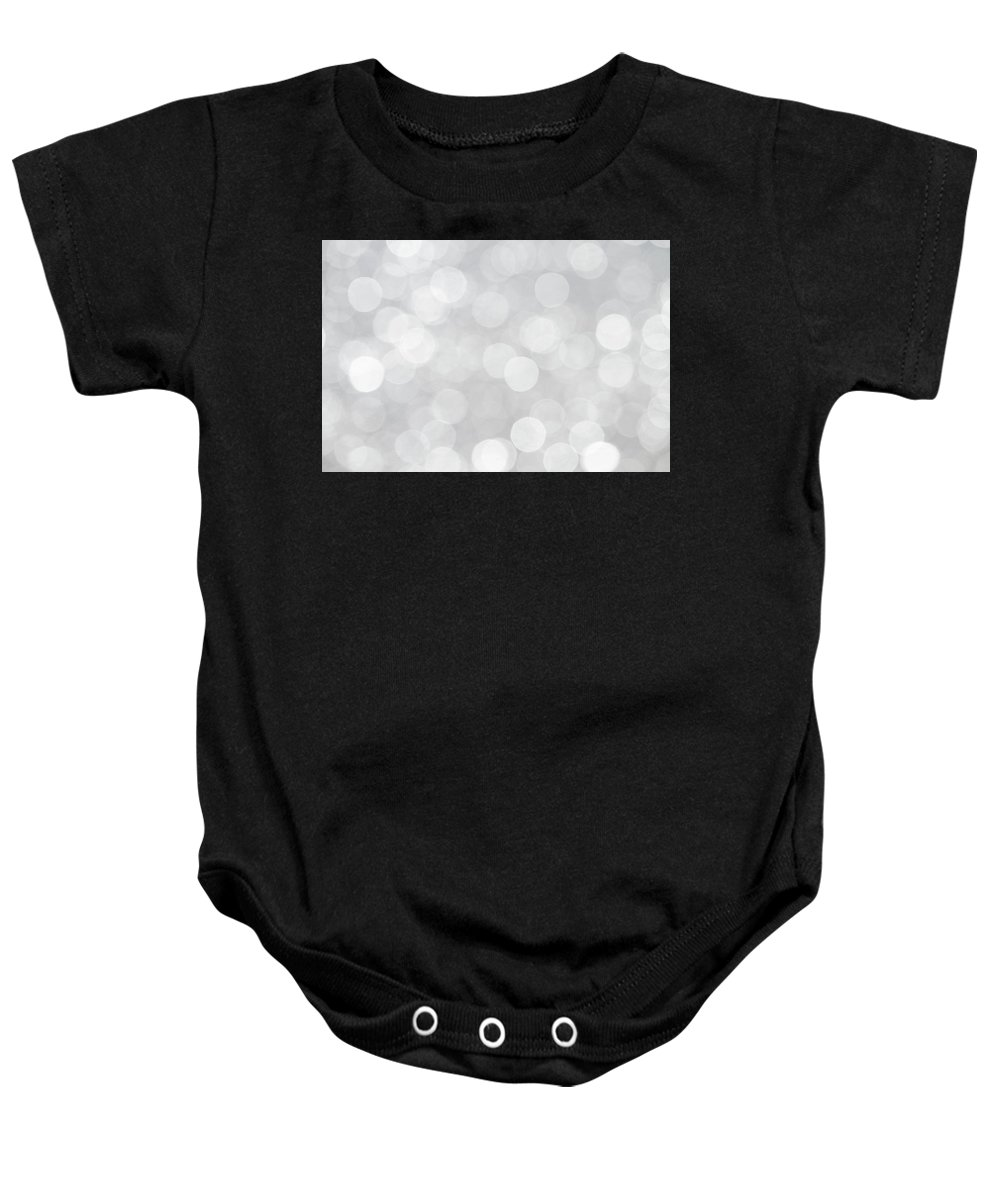 Bokeh Baby Onesie featuring the photograph Silver Grey Bokeh Abstract by Peggy Collins