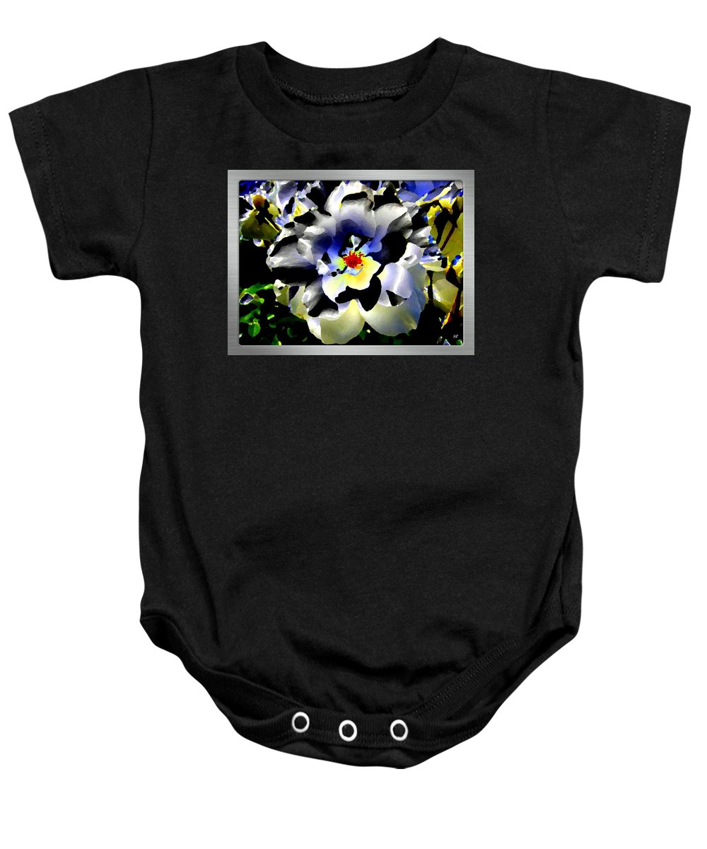 Rose Baby Onesie featuring the digital art Silver Rose by Will Borden