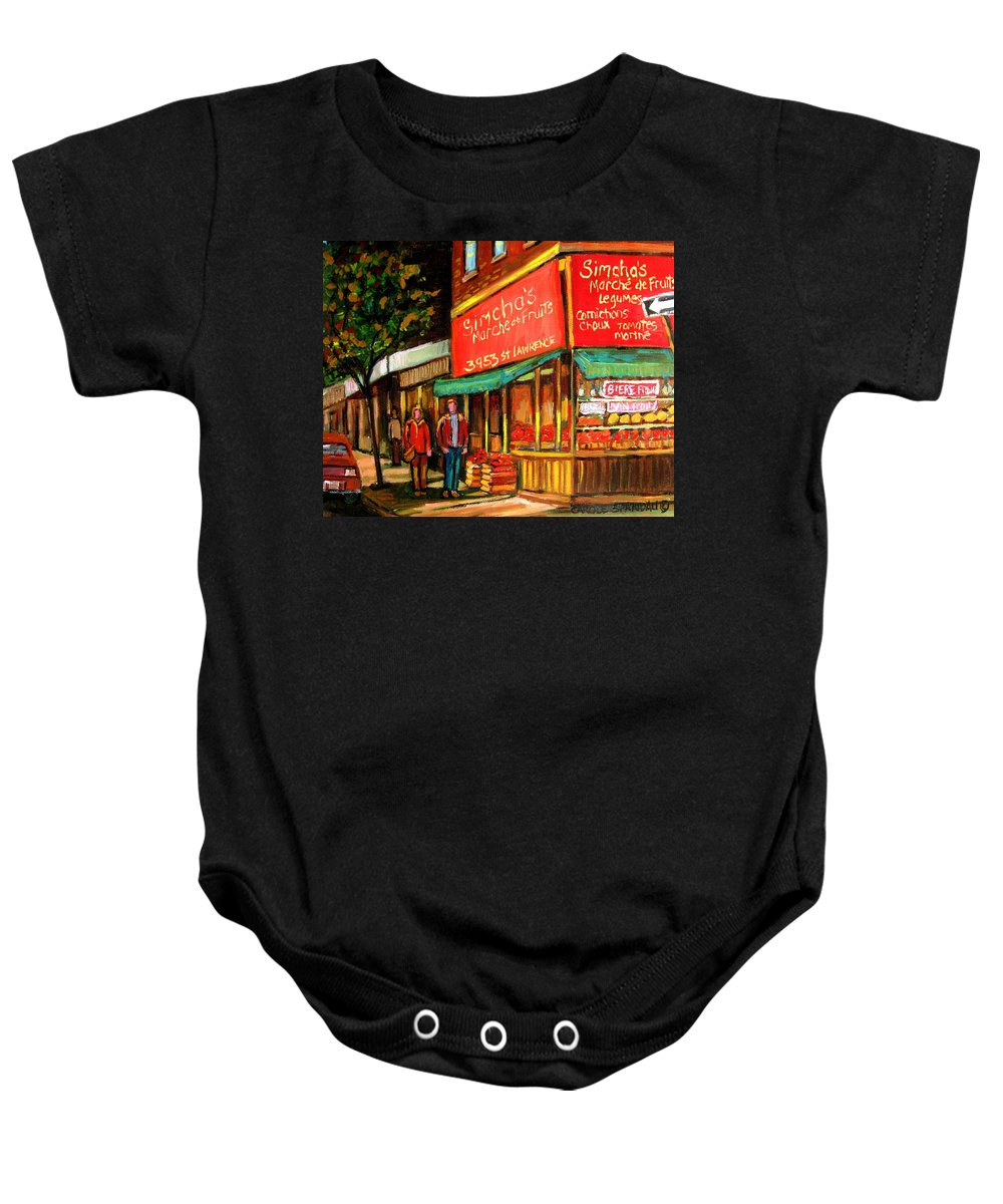 Simchas Fruit Store Baby Onesie featuring the painting Simchas Fruit Store by Carole Spandau