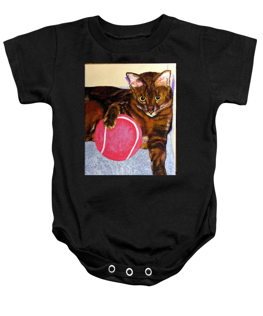 Cat Baby Onesie featuring the painting Simon by Stan Hamilton