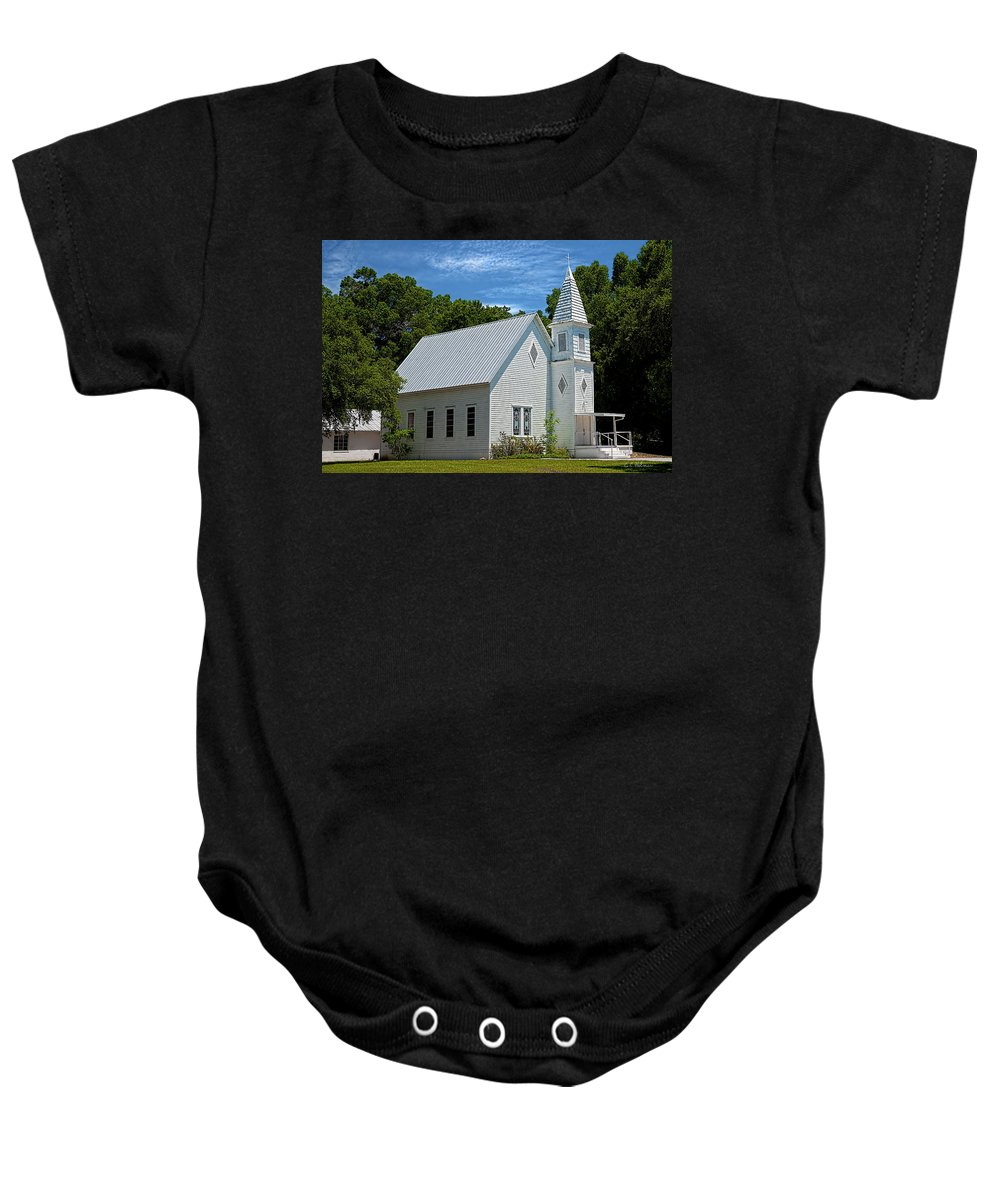 Structure Baby Onesie featuring the photograph Simple Country Church by Christopher Holmes