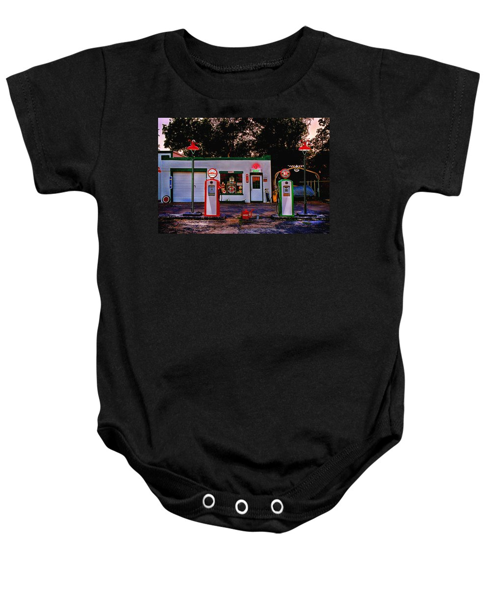 Gas Station Baby Onesie featuring the photograph Sinclair by Steve Karol