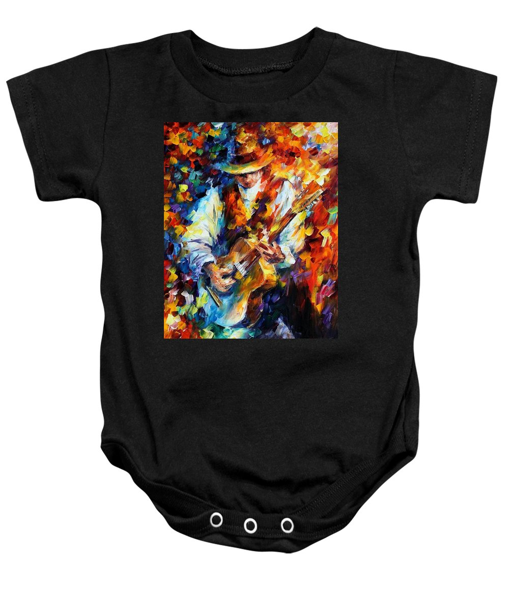 Afremov Baby Onesie featuring the painting Sing My Guitar by Leonid Afremov