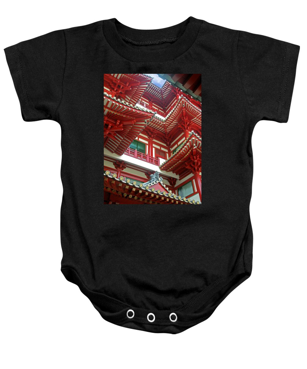 Singapore Temple Religion Buddhism Candle Lamp Light Chinese Chinatown Culture Tradition Building Baby Onesie featuring the photograph Singapore Buddha Tooth Temple by Mark Sellers