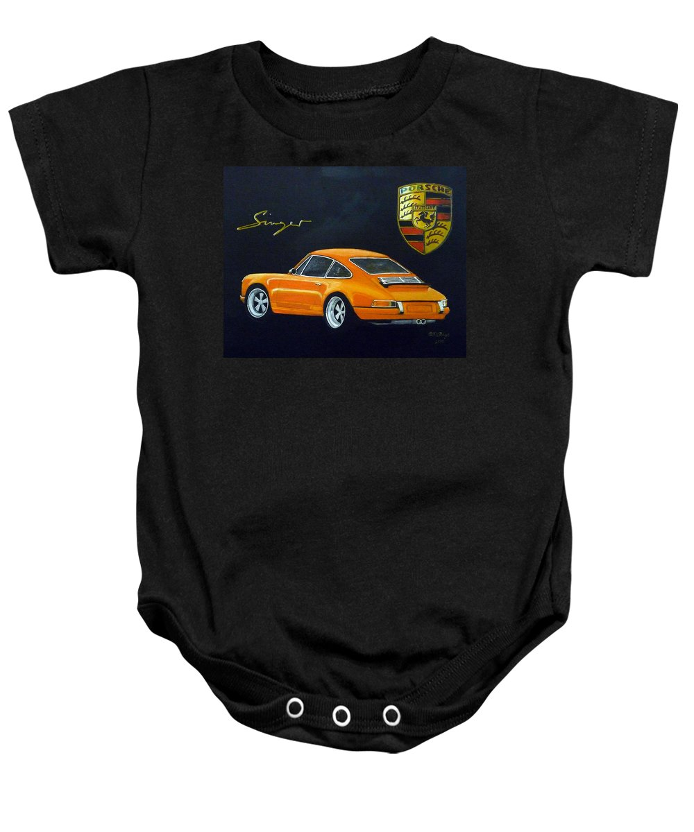 Cars Baby Onesie featuring the painting Singer Porsche by Richard Le Page