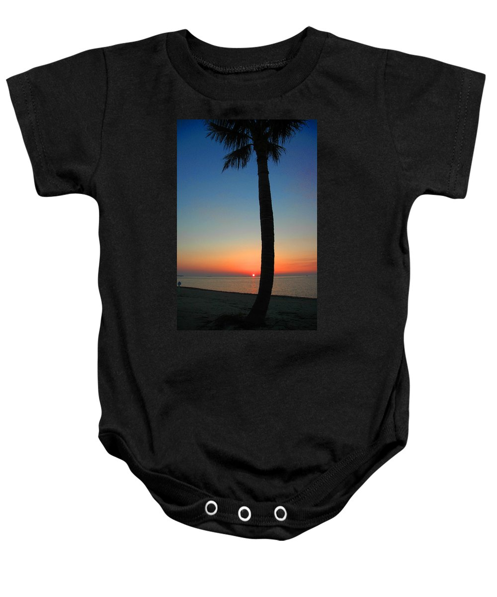 Photography Baby Onesie featuring the photograph Single Palm And Sunset by Susanne Van Hulst