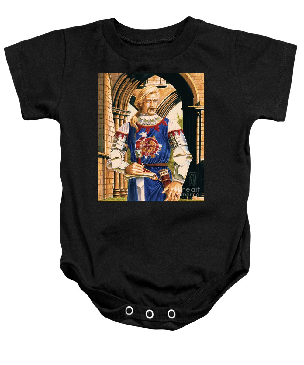 Swords Baby Onesie featuring the painting Sir Dinadan by Melissa A Benson
