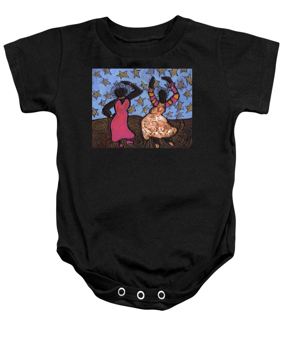 Folk Art Baby Onesie featuring the painting Sisters Sarah Sue And Sally Mae Swinging The Night Away by Wayne Potrafka