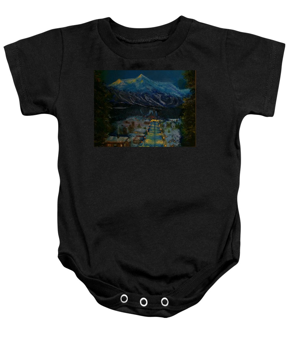 Winter Baby Onesie featuring the painting Ski Resort by Stephen King