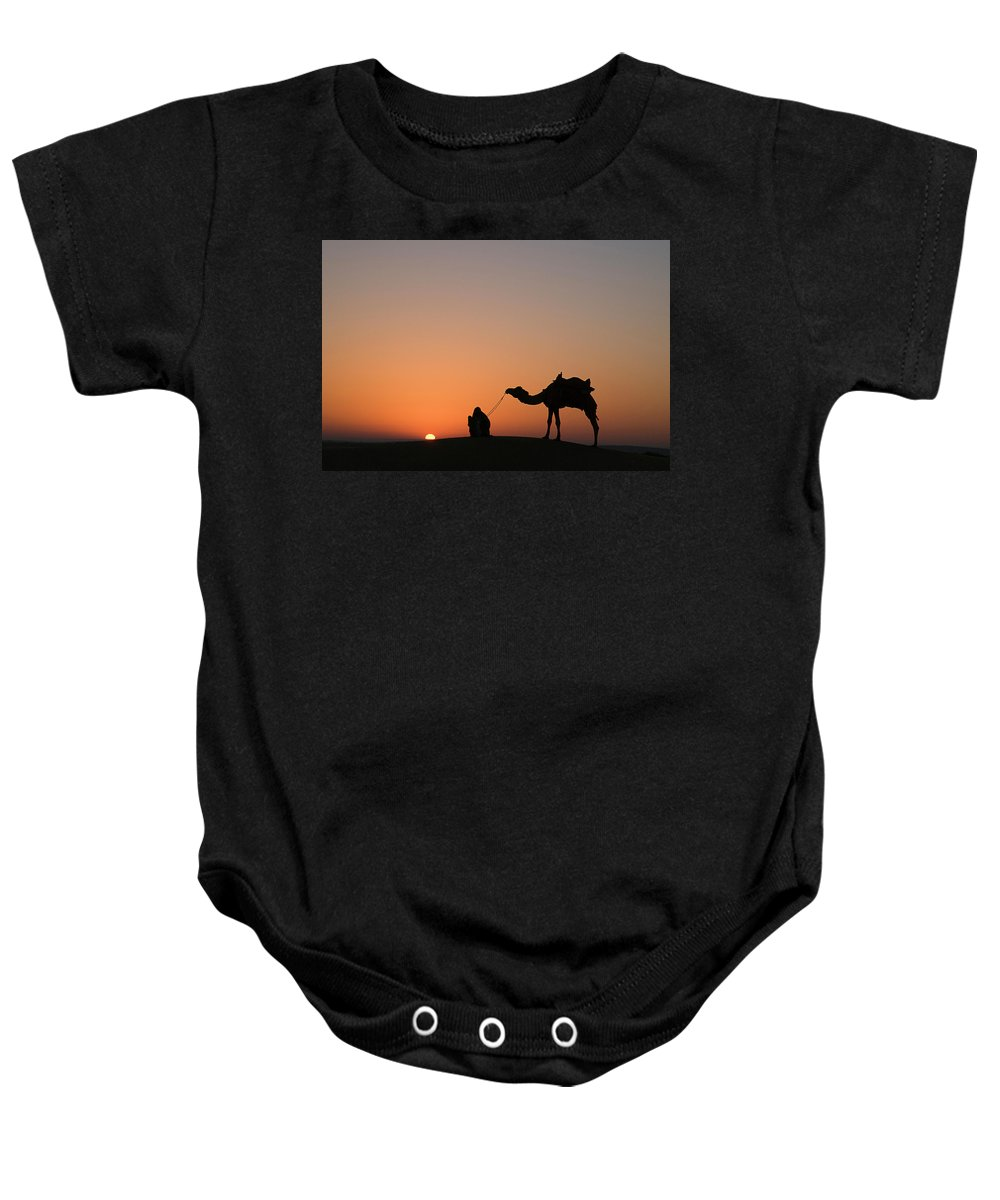 Silhouette Baby Onesie featuring the photograph Skn 0870 Silhouette At Sunrise by Sunil Kapadia