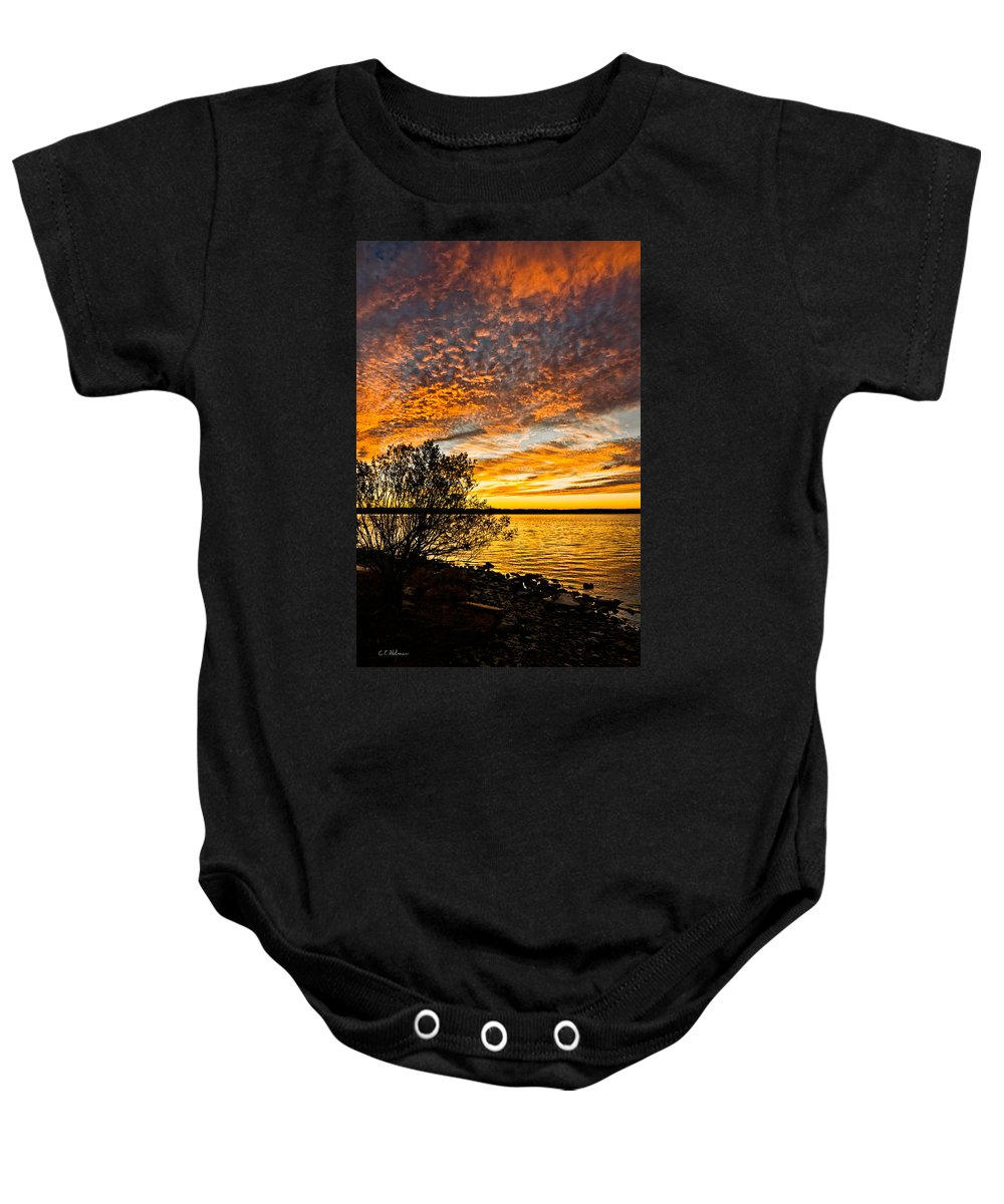 Sunset Baby Onesie featuring the photograph Sky Afire by Christopher Holmes