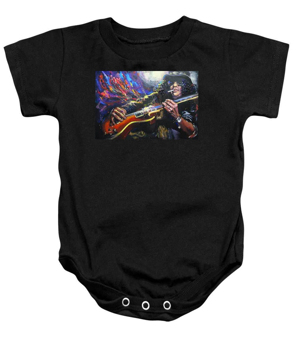 Rock Baby Onesie featuring the painting Slash by Irina Sergeyeva
