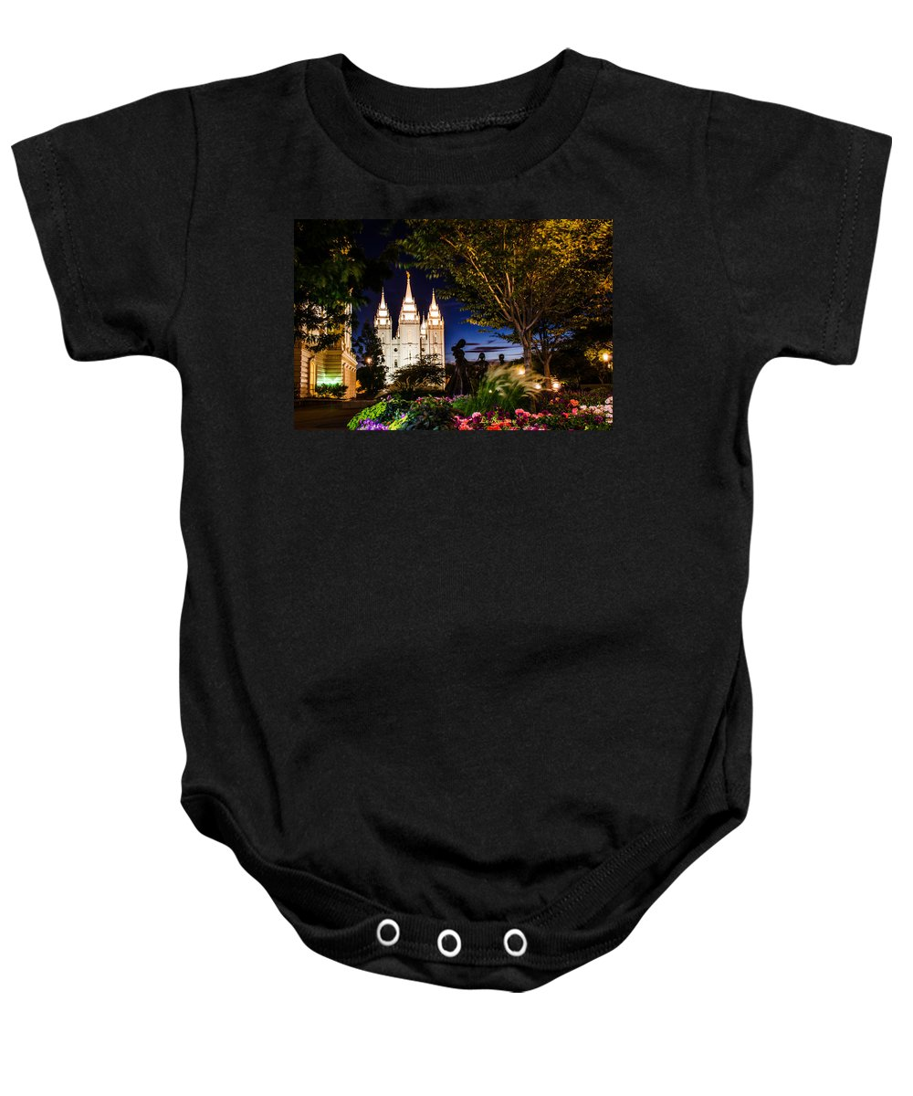 Mormon Temple Photography Baby Onesie featuring the photograph Slc Mother And Children by La Rae Roberts