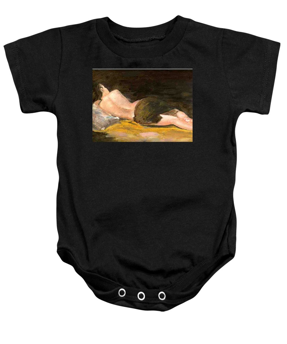 Woman Baby Onesie featuring the painting Sleeping Beauty by Asha Sudhaker Shenoy