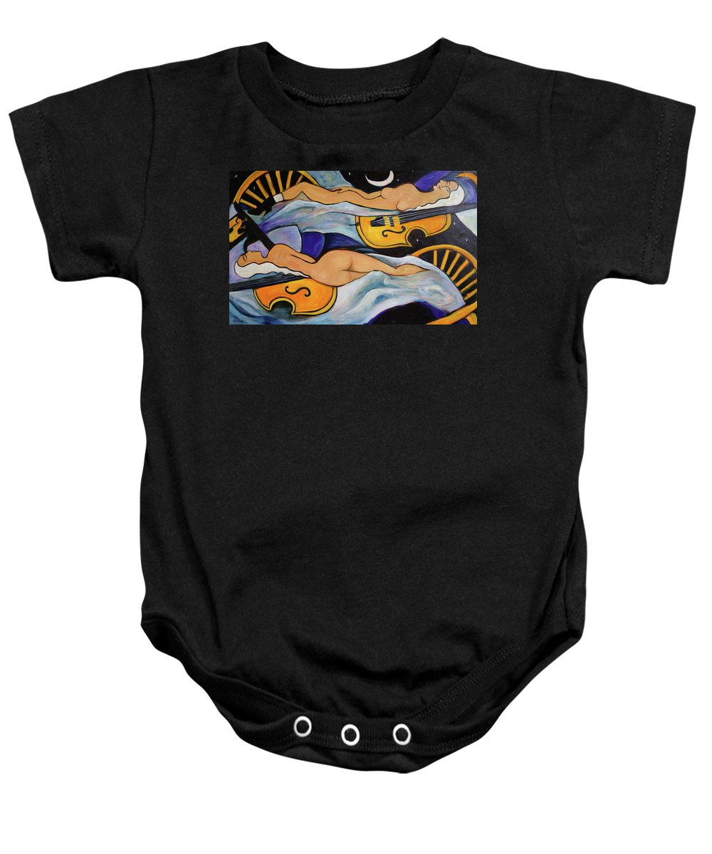 Musicians Baby Onesie featuring the painting Sleeping Cellists by Valerie Vescovi