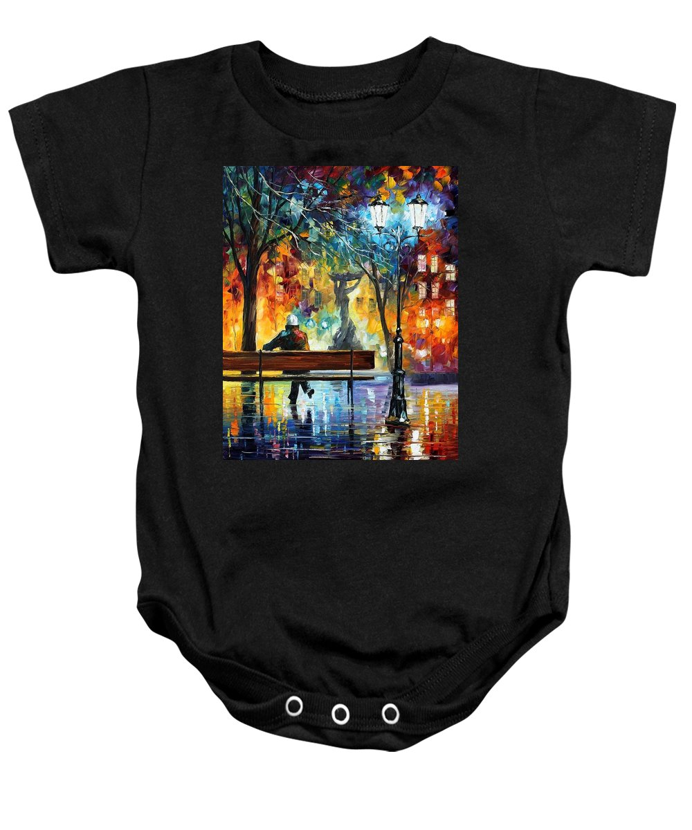 Afremov Baby Onesie featuring the painting Sleeplessness by Leonid Afremov