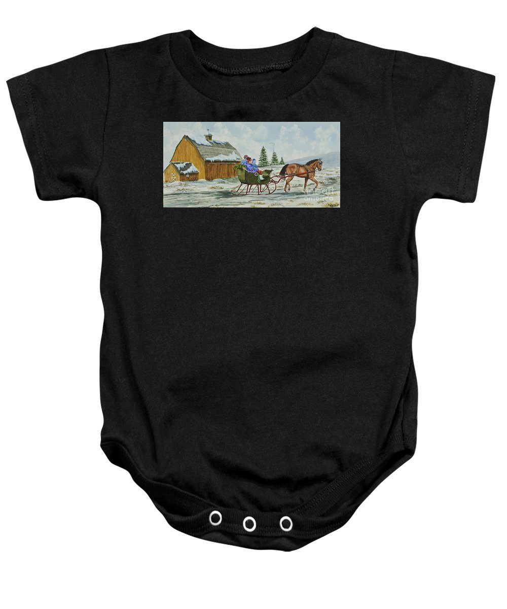 Country Kids Art Baby Onesie featuring the painting Sleigh Ride by Charlotte Blanchard