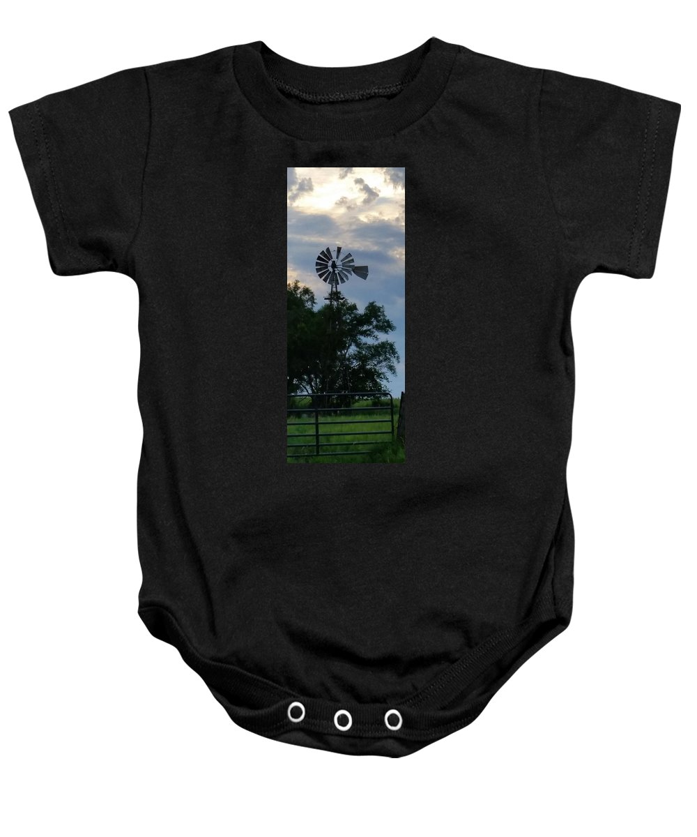 Landscape Baby Onesie featuring the photograph Slowly Blows The Wind by Caryl J Bohn