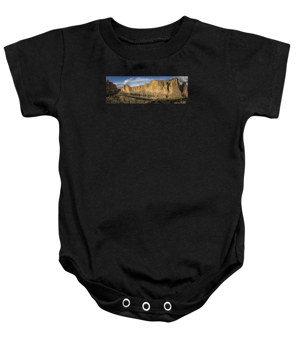 Smith Rock Baby Onesie featuring the photograph Smith Rock And Crooked River Panorama by Belinda Greb