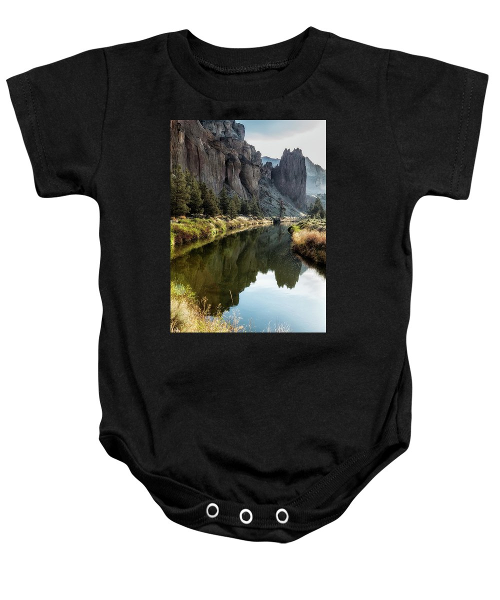 Smith Rock Baby Onesie featuring the photograph Smith Rock Morning Glow by Belinda Greb