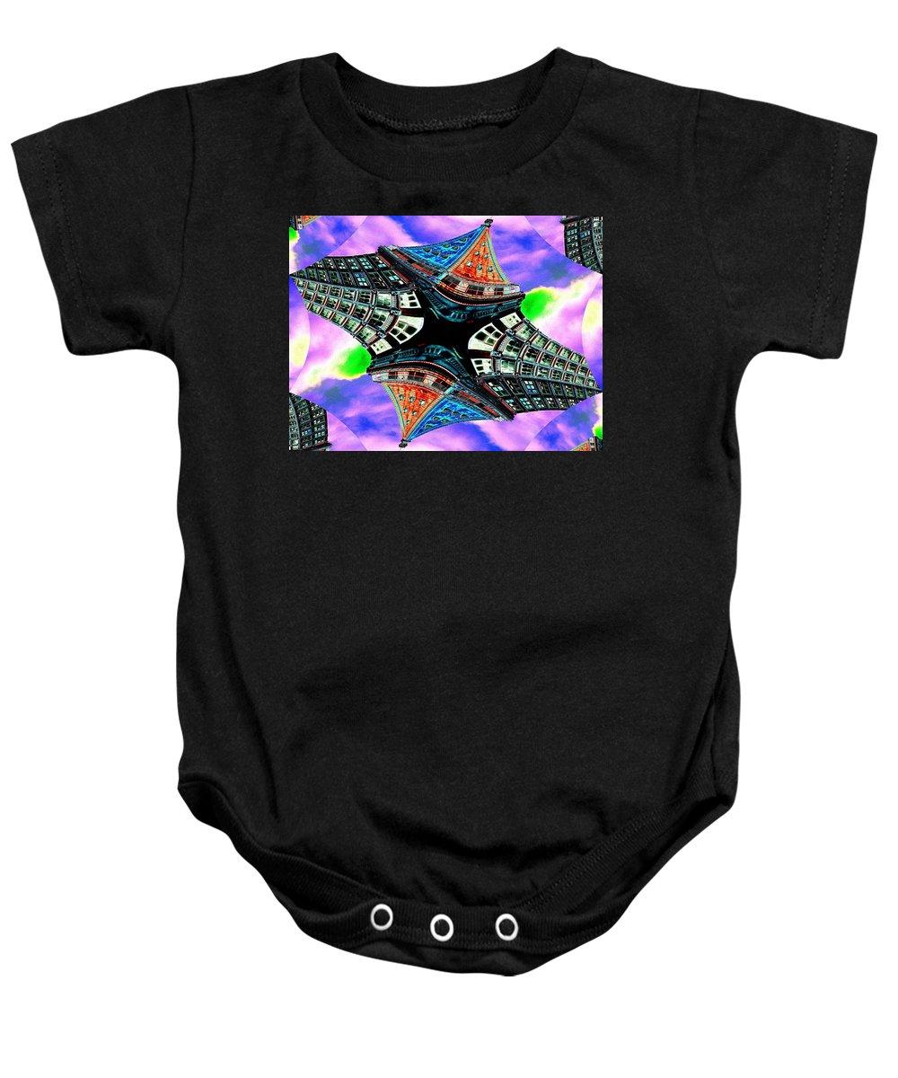 Seattle Baby Onesie featuring the digital art Smith Tower Fractal by Tim Allen