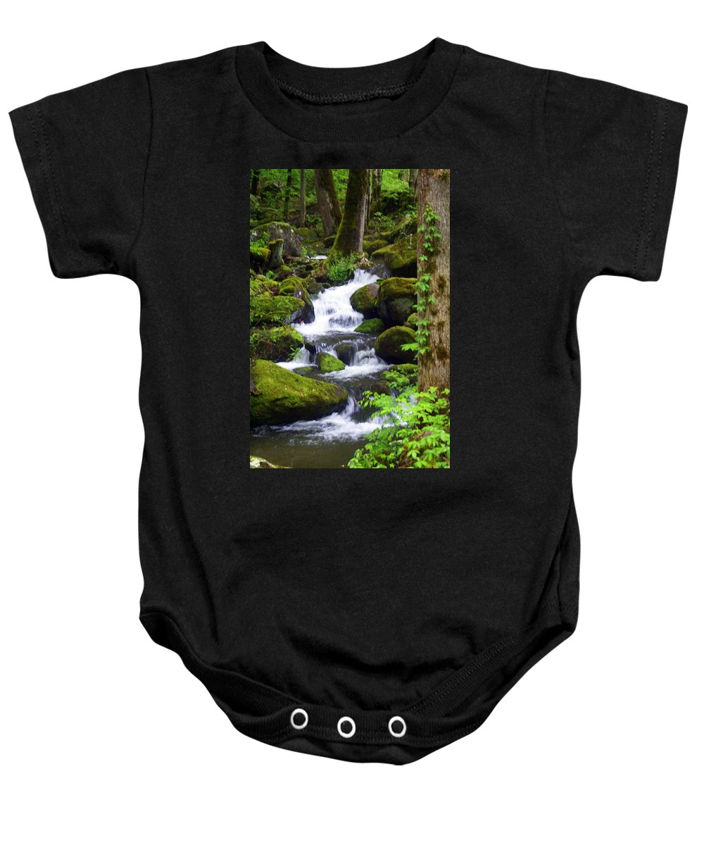 Great Smokey Mountains National Park Baby Onesie featuring the photograph Smokey Mountain Stream by Marty Koch