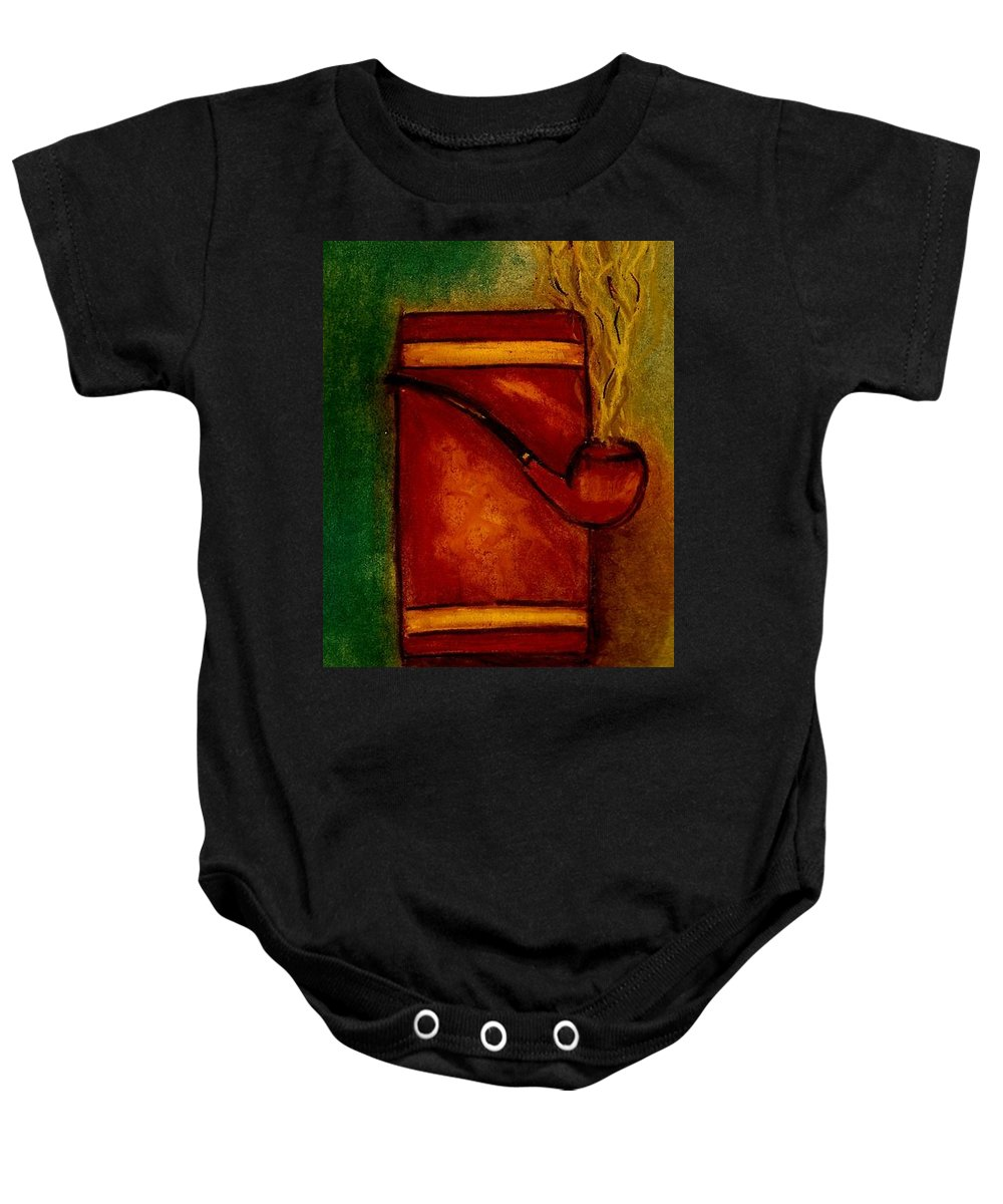 Pipe Baby Onesie featuring the drawing Smoking Pipe by Melvin Moon